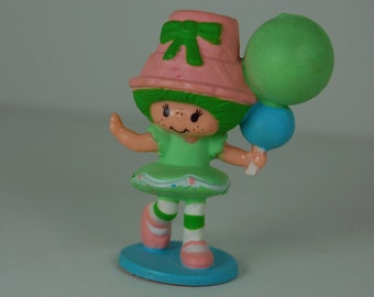 Vintage Strawberry Shortcake Miniature Figurines, Lime Chiffon with Balloons, Kenner 1981