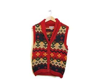 CLOSING SALE Vintage Boho Vest Chunky Knit Vest Bohemian Clothing 1980s Vest Winter Vest Fair Isle Sweater Vest Hipster clothing  Medium