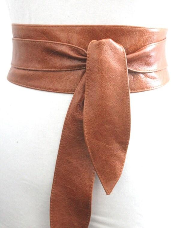 distressed brown leather obi belt tulip tie belt western