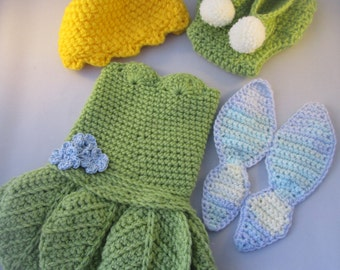 Baby Fairy Handmade Crocheted Outfit/ Halloween Set/ Photography Prop/Christmas Gift