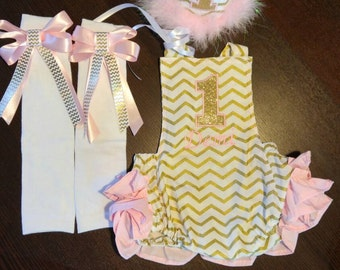 First Birthday Cake Smash Romper Pink Gold and White Chevron Twinkle Little Star with Birthday Hat and Leg Warmers for Baby Girl
