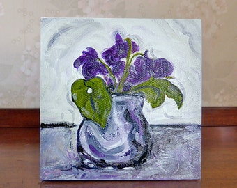 Small painting of violets, spring flowers, original art, purple green home decor, gift for her, 6 x 6 inches, free shipping
