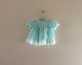 Vintage 80s Blue Lacy Baby Dress - Newborn to 6 months size