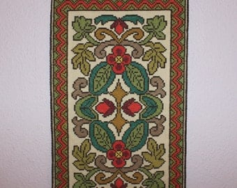 Beautiful vintage retro wall hanging Tapestry. Hand-embroidered with colorful floral motif. Made in Sweden Scandinavian.