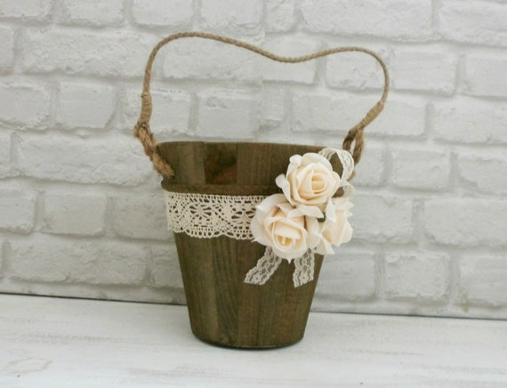 Flower Baskets For Weddings Uk : Flower girl basket rustic wedding wooden