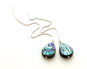 Abalone Earrings, Sterling Silver Threader Earrings, Long Chain Earrings, Paua Shell Jewelry, Drop or Square Earrings, Bridesmaid Earrings