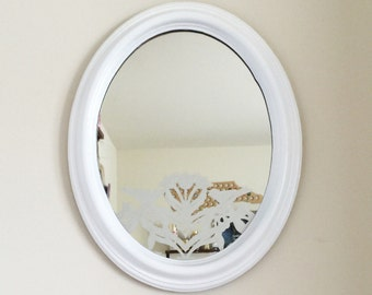 Oval White Antique Mirror with etched design