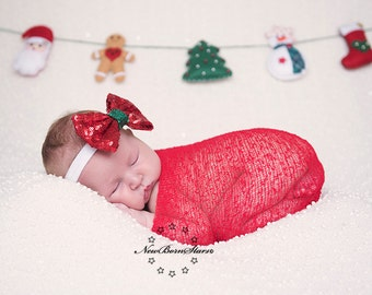 Christmas baby headband, Christmas bow headband, Holiday Headband, newborn Christmas headband,  Girls christmas Headband, Photoprop