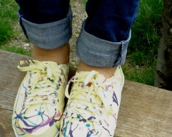 Vintage Sneakers/ 90s sneakers / skateboard shoes / Roxy-QuickSilver® Customized Sneakers/Colorful splatters / Festival Shoes / Gypsy / Boho