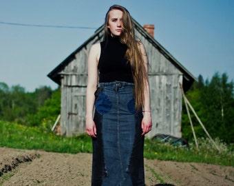 Upcycled Denim Skirt, Upcycled Skirt, Maxi Denim Skirt, Long Blue Skirt, Upcycled Clothing