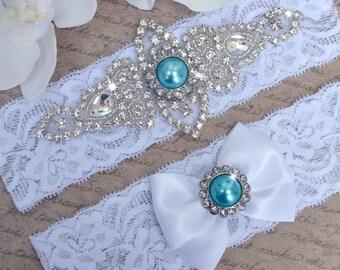wedding garter, bridal-White Lace Garter Set- lingerie- plus size - garters -Blue-Pearl garter-Keepsake-Something blue-Aqua Blue Stones
