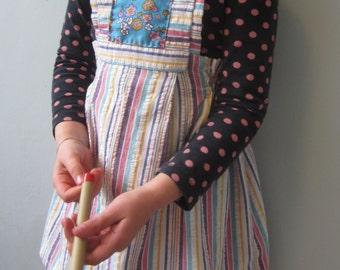 Girls Dress Upcycled, Girls Vintage Dress, Little Girls Dresses, Pinafore Dress, Summer Dress, Girls Pinafore, Little Girls Dress 3 4 T