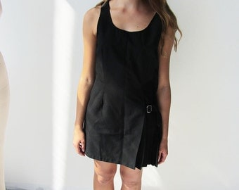 Vintage Black Mini Dress with Buckle and Pleating Detail