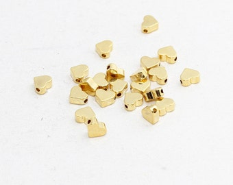 5 Pcs 7mm Gold Plated Heart Beads , Spacer Beads , Mini Heart Beads, Heart Beads , Heart Jewelry , BRT399