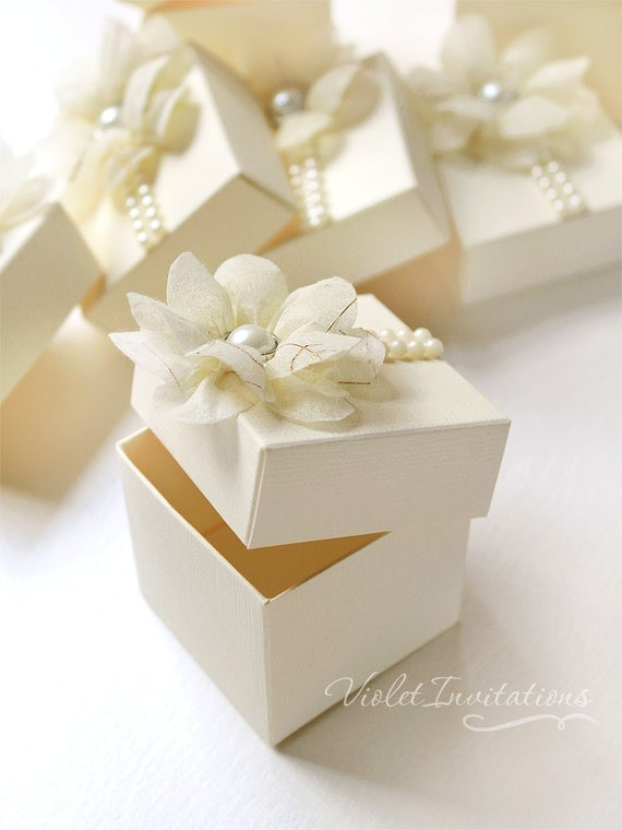 A4 Wedding Gift Box : Set of 5 Ivory Flower Gift Boxes, Wedding Bridal Party Favor Boxes ...