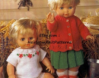 5-Piece Dolls Indoor Outfit Knitting Pattern 12-22'' Knitted Dolls Cardigan Skirt Vest Panties Socks/ Shoes Instant download PDF - 710
