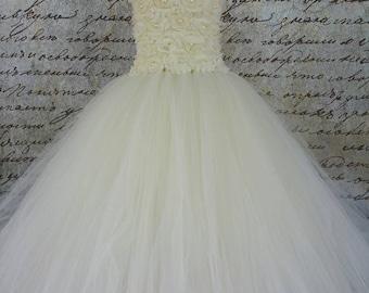 Custom request to Brook. Ivory Flower Girl Tutu Dress.