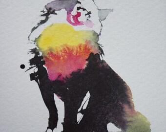 Original watercolour of cats figure 3 .
