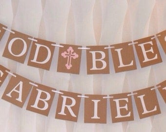 Baptism Banner Christening Banner God Bless Banner