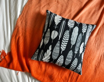 Navy Feather Print Envelope Cushion Cover