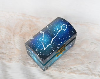 Zodiac Pisces sign constellation box , Personalized Galaxy ring bearer box , Astrology Constellation Star ring box ,galaxy wedding ring box