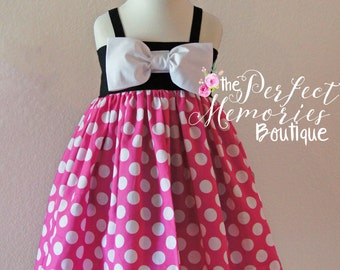 Pink Minnie Mouse Dress | Birthday Dress | Disney Dress | Girls Clothing | Disney Vacation | Disney World | Minnie Mouse Party | Dress