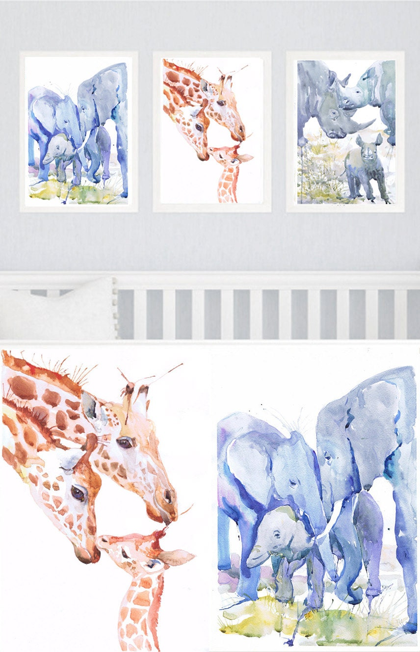 Zoo Animal Nursery Decor Family Of 3 Set Of 3 Prints
