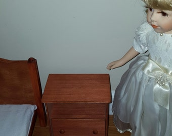 Handmade 1:4 Scale Bedside Table/ American Girl size furniture/ cherry stained side table/ 18 inch doll furniture/ 18 inch doll table