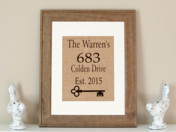 personalized burlap print name and address wall decor