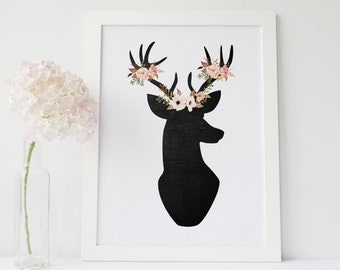 Floral deer print, deer wall art, deer nursery decor, boho printable, deer silhouette, chalkboard deer print, shabby chic wall art.
