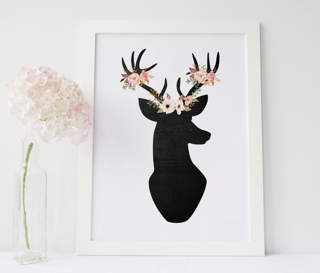 Wall Art Of Deer : Floral deer print wall art nursery decor boho