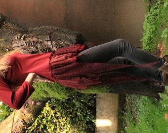 Boho asymmetric dress , longer on back, laces, 3/4 sleeves