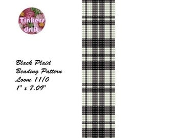 Black Grey White Plaid Loom Beading Pattern Tartan