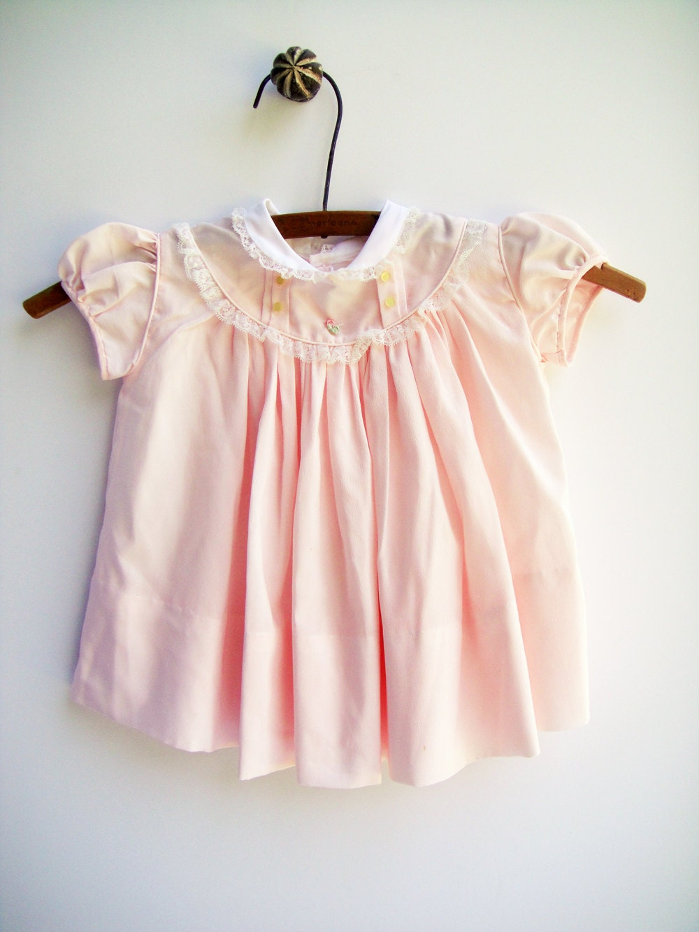 vintage baby dress light pink dress baby clothes size