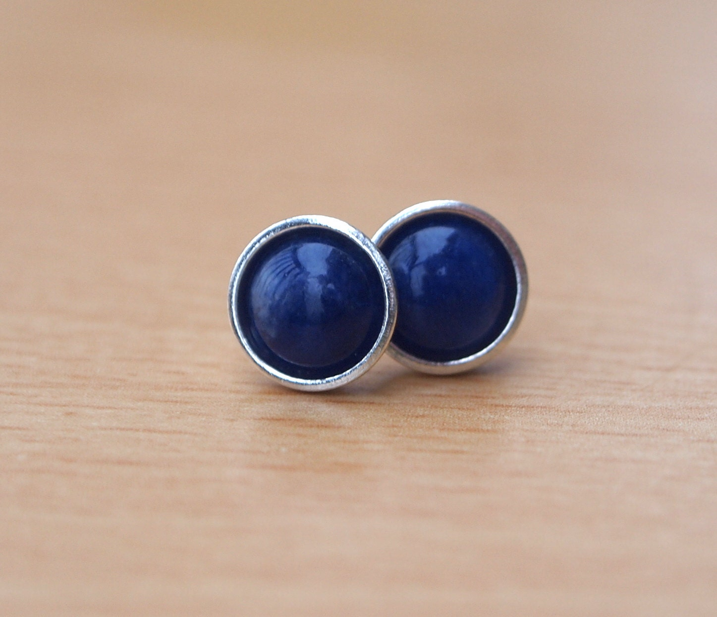 Small Blue Earrings: Blue Stud Earrings Sodalite Studs Small Round Unisex Earring