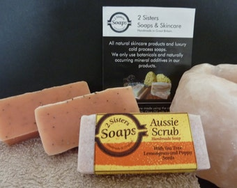 Teatree and Lemongrass Handmade Cold Process Soap with Poppy Seeds for exfoliation