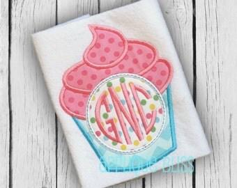 Monogram Cupcake Applique Design - Birthday - Birthday Cake - Cupcake Applique Design - Cupcake Embroidery Design