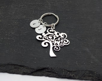 Family Tree Keyring, Hand Stamped Keyring, Personalised Keyring, Family Keychain, Charm Keyring, Keychain, Family Gift, Tree Keyring