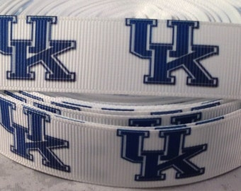 Kentucky Ribbon -  University of Kentucky College Ribbon - 7/8 inch Grosgrain Ribbon-College Sports Ribbon - DIY Craft-Hairbows-Sports Bows