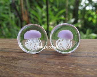 "Pyrex Glass Mauve Purple Jellyfish Plugs  0g 00g 7/16"" 1/2"" 9/16"" 5/8"" 3/4"" 1""  8 mm 10 mm 12 mm 14 mm 16 mm 18 mm - 25 mm"