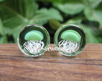 "Jade Pyrex Glass Jellyfish Plugs Clear Background 0g 00g 7/16"" 1/2"" 9/16"" 5/8"" 3/4"" 1""  8 mm 10 mm 12 mm 14 mm 16 mm 18 mm 20 mm 22 mm 25 mm"