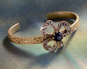 Lucky Clover Bracelet, Victorian Bracelet, Trefoil Bracelet, Clover Jewelry, Victorian Jewelry, St Patricks Day Jewelry, Clover BR488