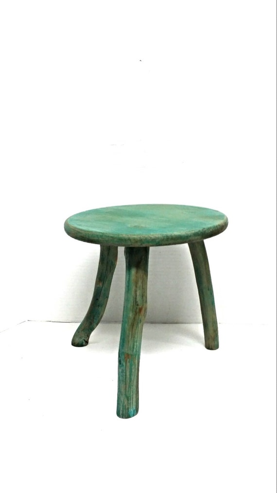 Painted Wooden Stool ~ Wood stool distressed painted wooden plant