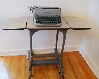 Vintage Mid Century Industrial Typewriter Table / Desk / Bar with Collapsible Sides