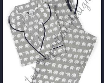 Grey Elephant Pajama Set