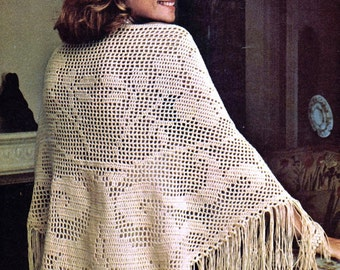 Crochet Wrap Filet Shawl Pattern, Triangle Lace Pattern,Shawl, Wrap, Scarf, - - PDF Download U.S.Version