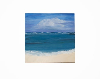 Beach Painting on Wood, Original Art by YtterbergStudio