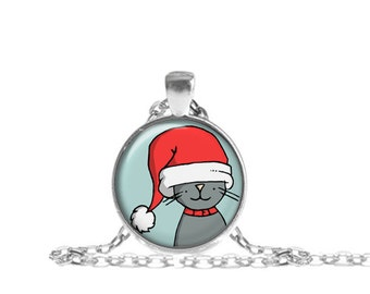 Santa Cat Necklace, Santa Hat Cat Pendant with Chain, Christmas Jewelry