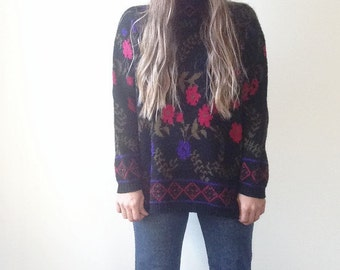 Vintage Boho Flower Turtleneck Sweater, Purple and Pink Rose Pattern, Womens Knit Pullover, Kate Collins, Made in the USA