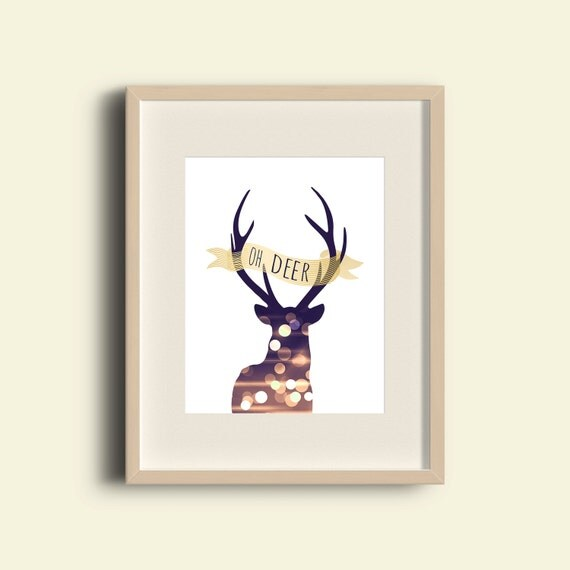 Oh deer print antler home decor printable wall by for Antler decorations for home